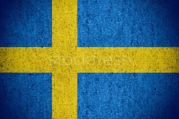 Zászló Svédország szalag durva minta textúra Stock fotó © MiroNovak