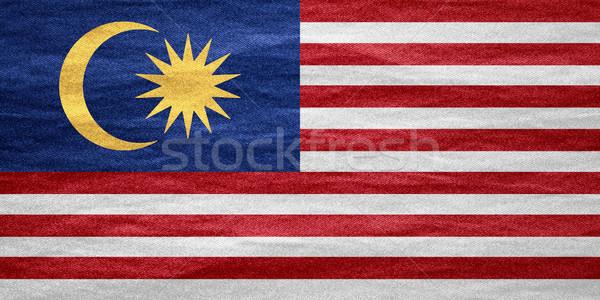 Zászló Malajzia szalag vászon textúra háttér Stock fotó © MiroNovak