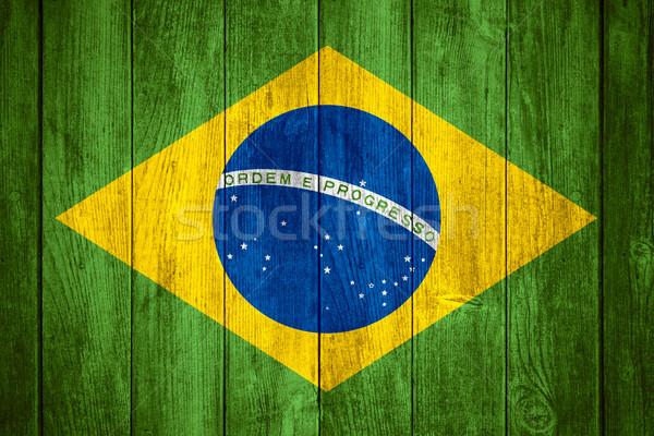 Brasil bandeira verde amarelo azul branco Foto stock © MiroNovak