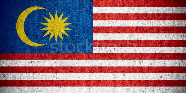 Zászló Malajzia szalag durva minta textúra Stock fotó © MiroNovak