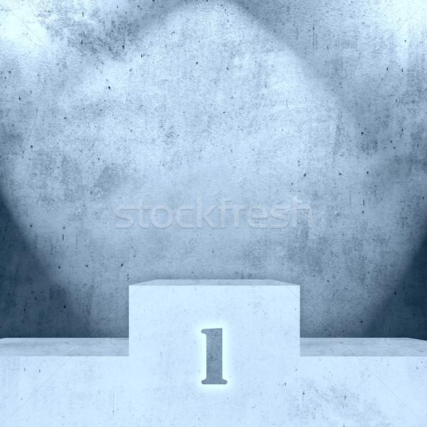 Podium niebieski ściany stoją zwycięzca tekstury Zdjęcia stock © MiroNovak