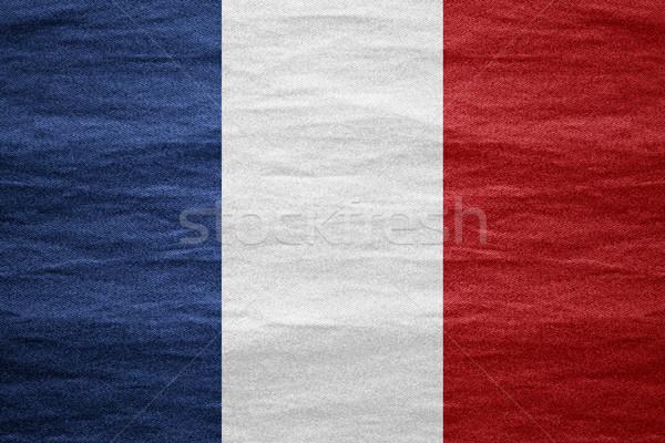 Bandeira França francês bandeira lona áspero Foto stock © MiroNovak