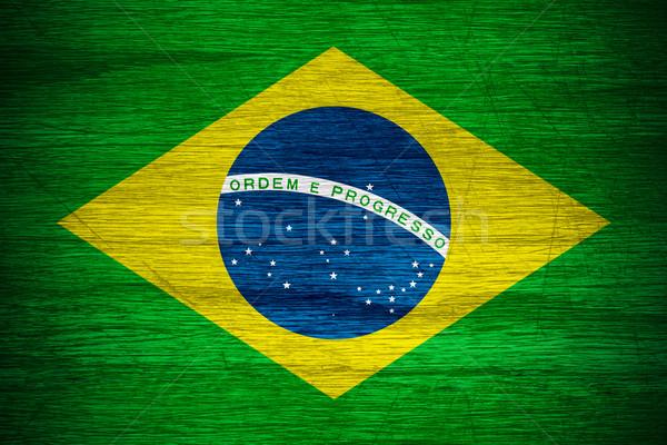 Brazília zászló szalag fából készült textúra Stock fotó © MiroNovak