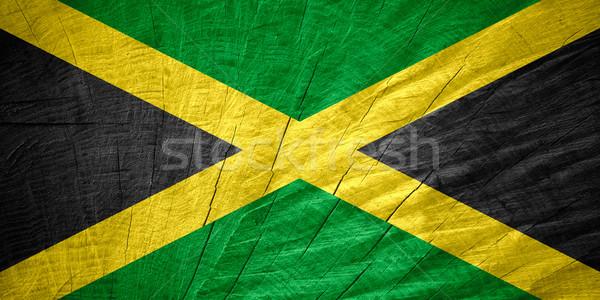 Bayrak Jamaika afiş ahşap doku Stok fotoğraf © MiroNovak