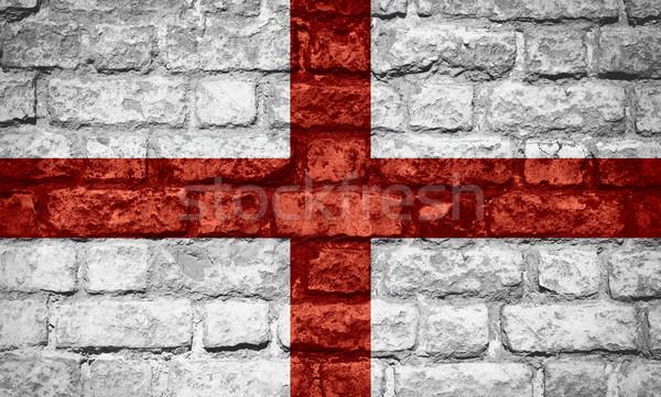 Bandeira inglaterra inglês bandeira tijolo textura Foto stock © MiroNovak