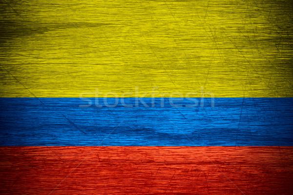 Stockfoto: Colombia · vlag · banner · houten · textuur