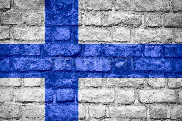флаг Финляндия баннер кирпичных текстуры Сток-фото © MiroNovak