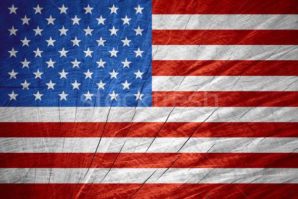 Amerika Birleşik Devletleri Amerika bayrak amerikan afiş ahşap Stok fotoğraf © MiroNovak