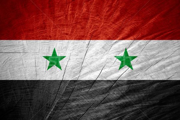 Vlag Syrië banner houten textuur Stockfoto © MiroNovak