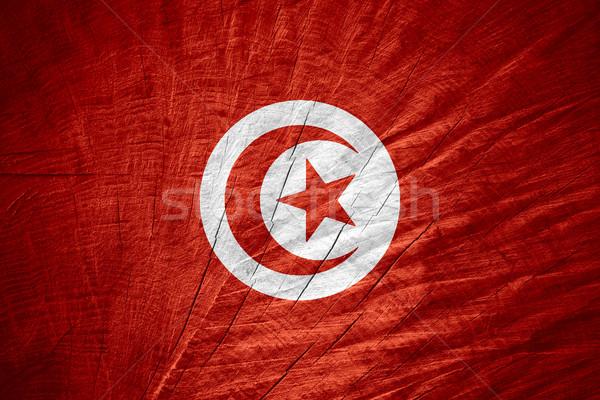 Zászló Tunézia szalag fából készült textúra Stock fotó © MiroNovak