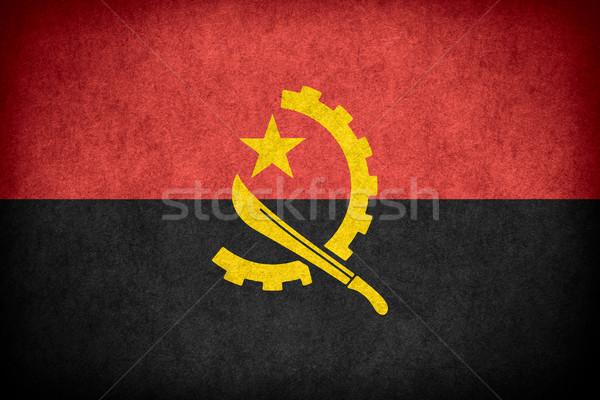 Zászló Angola szalag papír durva minta Stock fotó © MiroNovak