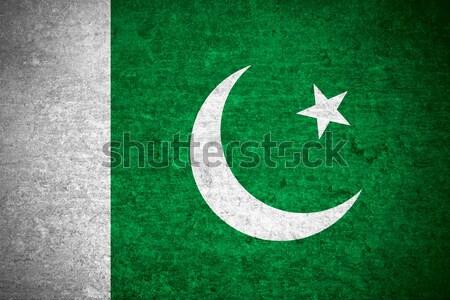 Zászló Pakisztán pakisztáni szalag vászon textúra Stock fotó © MiroNovak