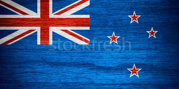 Új-Zéland zászló szalag fából készült textúra Stock fotó © MiroNovak