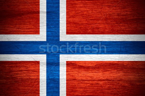 Zászló Norvégia norvég szalag fából készült textúra Stock fotó © MiroNovak