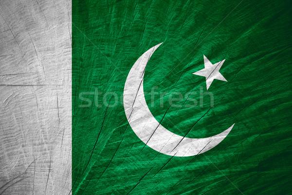 Zászló Pakisztán pakisztáni szalag fából készült textúra Stock fotó © MiroNovak