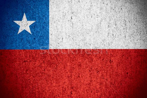 Bandiera Chile banner grezzo pattern texture Foto d'archivio © MiroNovak