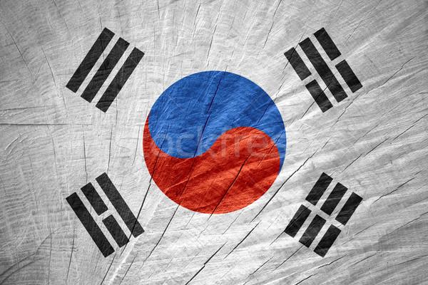 Zászló Dél-Korea szalag fából készült textúra Stock fotó © MiroNovak