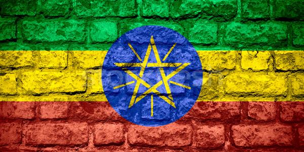 Stockfoto: Vlag · Ethiopië · ethiopiër · banner · baksteen · textuur