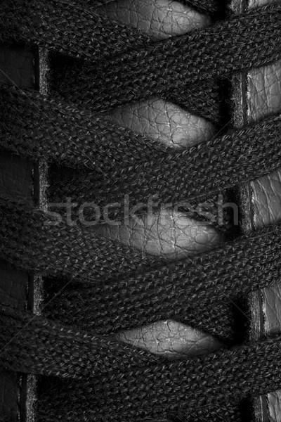 Zwarte leder schoen abstract achtergrond Stockfoto © MiroNovak