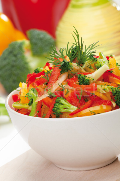 Stock photo: red, yellow and orange sweet pepper, broccoli and fennel salad