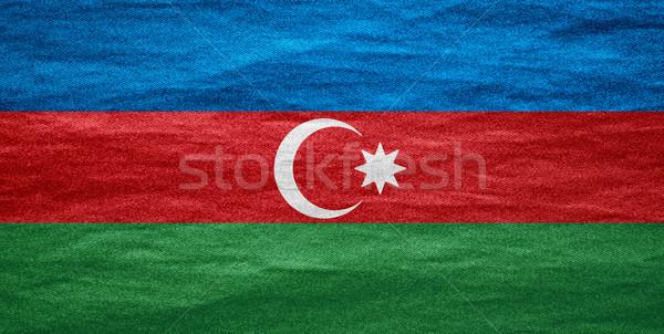 Zászló Azerbajdzsán szalag vászon textúra háttér Stock fotó © MiroNovak