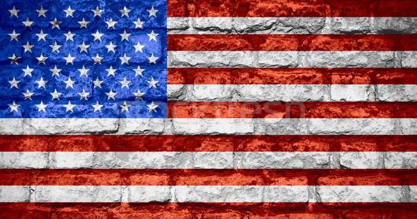 Egyesült Államok Amerika zászló amerikai szalag tégla Stock fotó © MiroNovak
