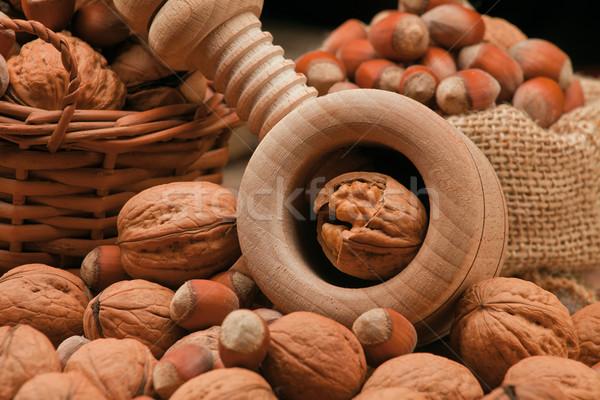 walnuts, hazelnuts and cracker Stock photo © MiroNovak