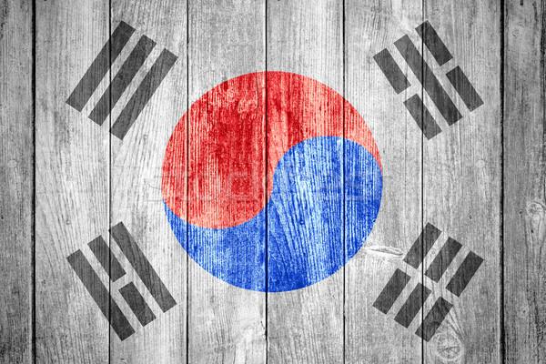 Bayrak Güney Kore siyah beyaz afiş ahşap doku Stok fotoğraf © MiroNovak