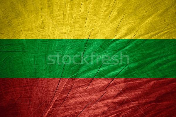 Vlag Litouwen banner houten textuur Stockfoto © MiroNovak