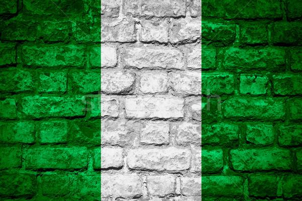 Bayrak Nijerya afiş tuğla doku Stok fotoğraf © MiroNovak