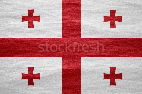 Bandeira Geórgia bandeira lona textura fundo Foto stock © MiroNovak