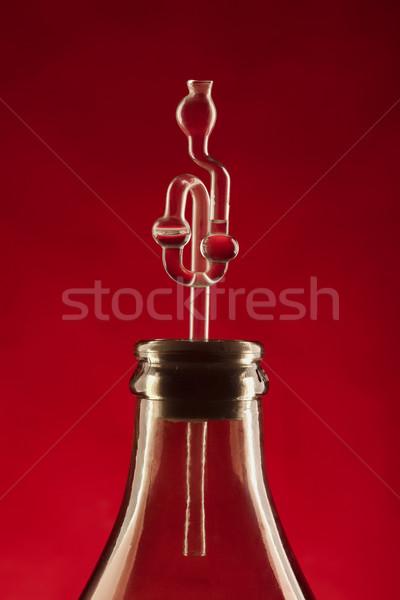 ферментация трубка пить красный алкоголя контроль Сток-фото © MiroNovak