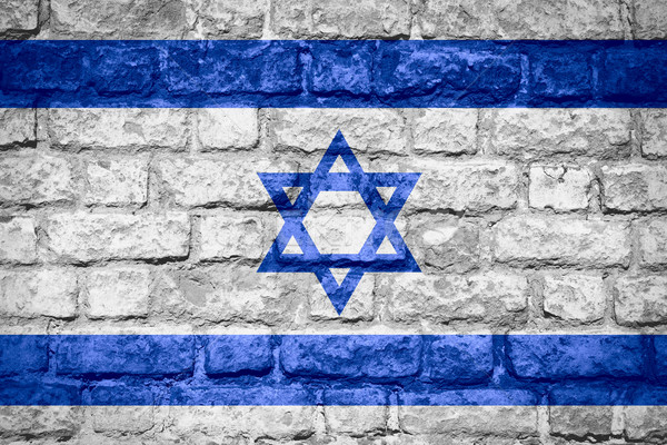 Bayrak İsrail İsrailli afiş tuğla doku Stok fotoğraf © MiroNovak