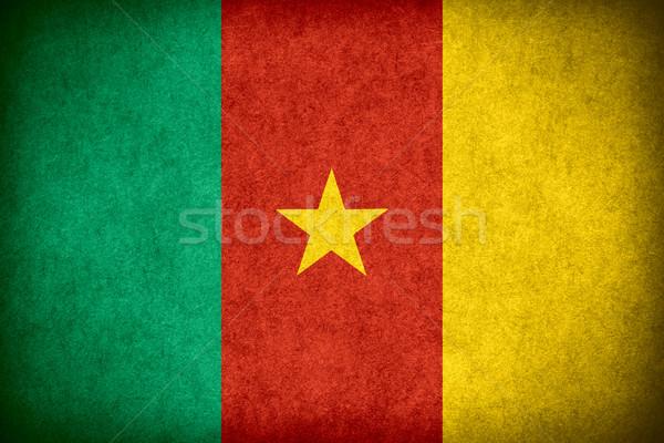 Banderą Kamerun banner papieru szorstki wzór Zdjęcia stock © MiroNovak