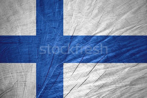 Zászló Finnország szalag fából készült textúra Stock fotó © MiroNovak