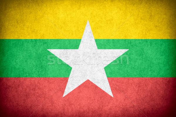 Bandeira birmânia bandeira papel áspero padrão Foto stock © MiroNovak
