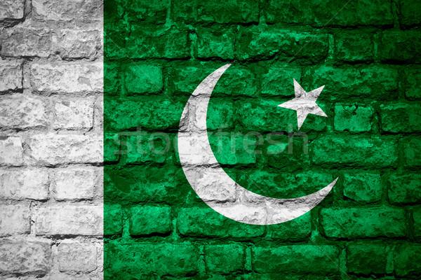 Bandeira Paquistão paquistanês bandeira tijolo textura Foto stock © MiroNovak