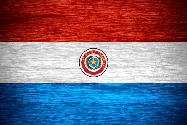 Zászló Paraguay szalag fából készült textúra Stock fotó © MiroNovak