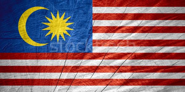 Zászló Malajzia szalag fából készült textúra Stock fotó © MiroNovak