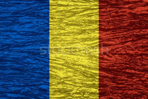 Pavillon Roumanie roumain bannière toile texture Photo stock © MiroNovak