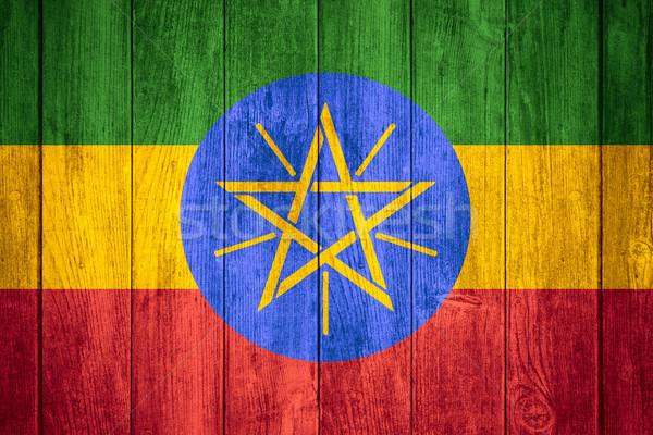 Vlag Ethiopië ethiopiër banner houten textuur Stockfoto © MiroNovak