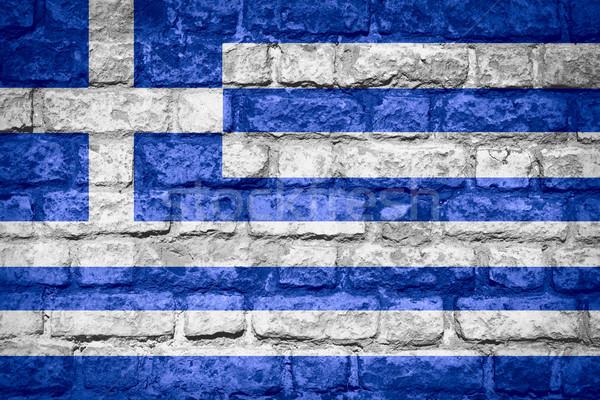 Bandeira Grécia grego bandeira tijolo textura Foto stock © MiroNovak
