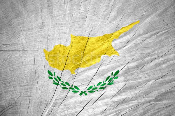 Zászló Ciprus szalag fából készült textúra Stock fotó © MiroNovak