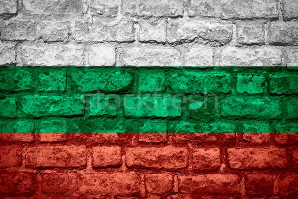 Banderą Bułgaria banner cegły tekstury Zdjęcia stock © MiroNovak