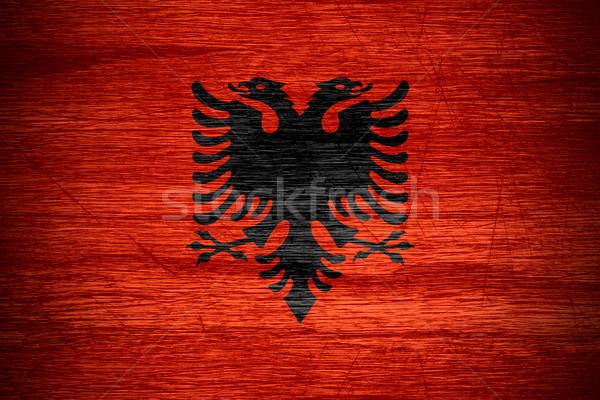 Zászló Albánia szalag fából készült textúra Stock fotó © MiroNovak