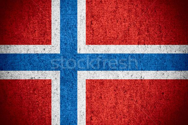 Bandeira Noruega norueguês bandeira áspero padrão Foto stock © MiroNovak
