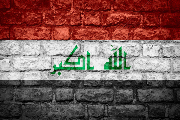 Bayrak Irak afiş tuğla doku Stok fotoğraf © MiroNovak