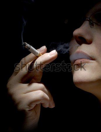 Sigara tiryakisi kız sağlık duman tütün Stok fotoğraf © mirusiek