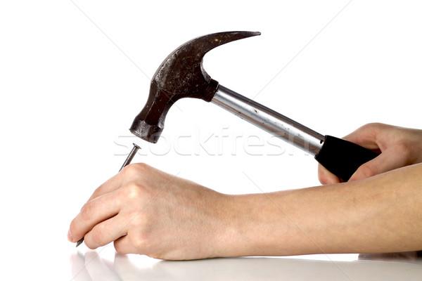 ütem szög kéz munkás kalapács ács Stock fotó © mirusiek