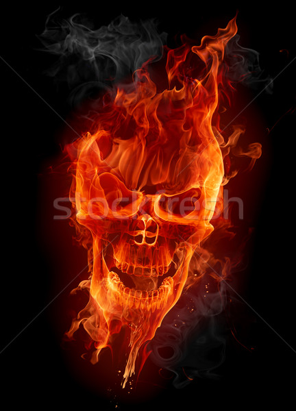 Photo stock: Feu · crâne · flaming · visage · rouge · sombre